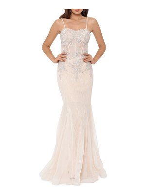 Xscape crystal beaded embroidered lace mermaid gown