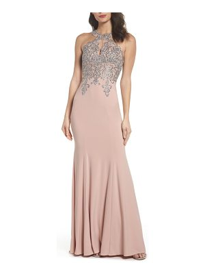 XSCAPE Embellished Embroidered Gown