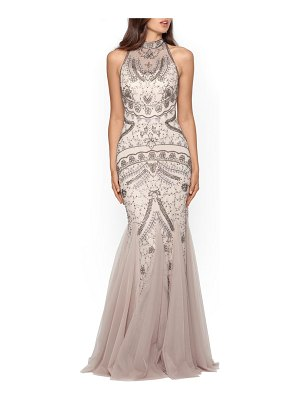 Xscape embellished godet mermaid gown