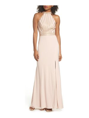XSCAPE Embellished Halter Neck Gown