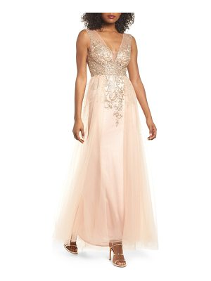 XSCAPE Embellished Illusion A-Line Gown