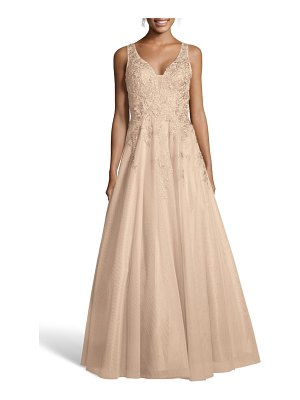 Xscape embroidered chiffon evening dress