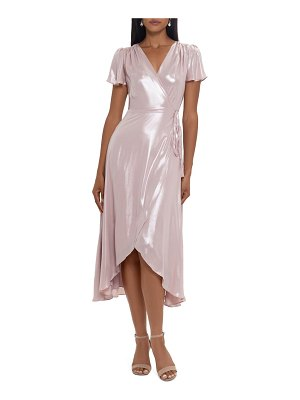 Xscape flutter sleeve wrap dress