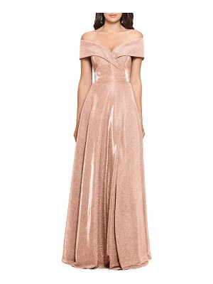 Xscape off the shoulder glitter gown