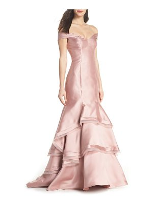 Xscape off the shoulder ruffle hem mermaid gown