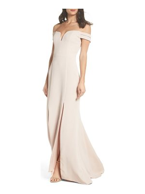 Xscape off the shoulder trumpet gown