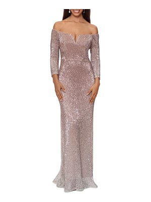 Xscape ombre sequin off the shoulder long sleeve gown