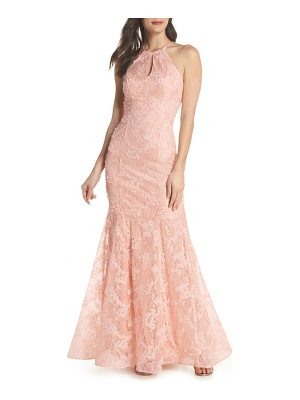 Xscape ruched lace halter mermaid gown