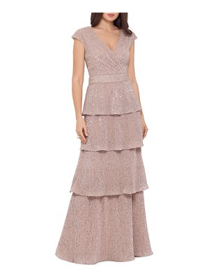 Xscape sequin embellished tiered gown