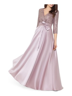 Xscape sequin & satin a-line gown
