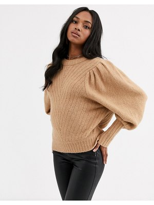 Y.a.s brush knit sweater with puff sleeves and ribbed cuffs in camel-stone