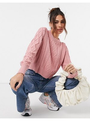 Y.a.s cable knit sweater in pink