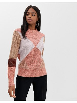 Y.a.s color block knit sweater-pink