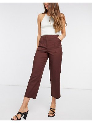Y.a.s cropped tailored pants in brown