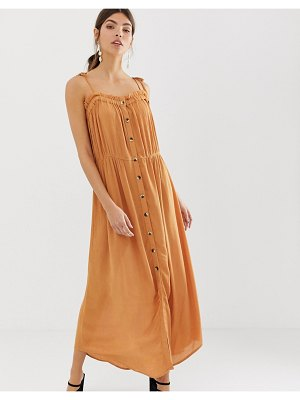 Y.a.s festival cheesecloth button through maxi dress-brown
