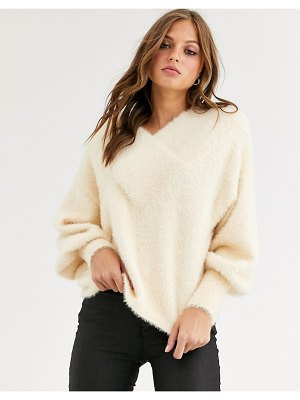 Y.a.s fluffy boxy v neck sweater-cream