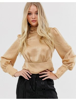 Y.a.s high neck blouse with volume sleeve