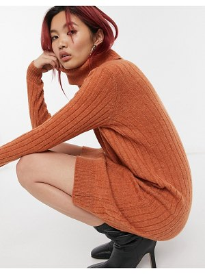 Y.a.s high neck sweater dress in rust-brown