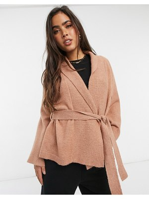 Y.a.s kimono cardigan with tie waist in blush-pink