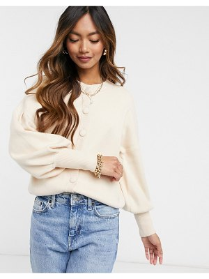 Y.a.s knitted cardigan with balloon sleeve-cream