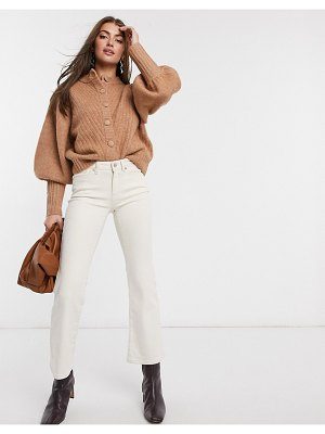 Y.a.s knitted cardigan with volume sleeve in camel-brown