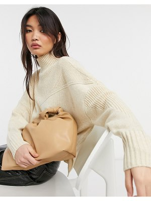 Y.a.s knitted sweater with ribbed high neck in cream