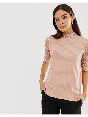 Y.a.s lace sleeve ribbed top