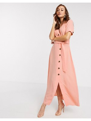 Y.a.s maxi dress with button through and tie waist in coral-pink