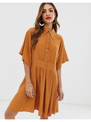 Y.a.s oversized mini shirt dress-brown