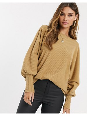Y.a.s rib knitted batwing sweater in brown-tan