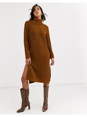Y.a.s roll neck knitted dress with side splits-brown