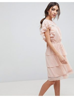 Y.a.s ruffle mini skater dress with lace in pink
