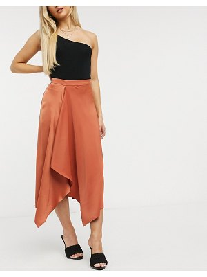 Y.a.s satin asymmetric midi skirt in rust-brown