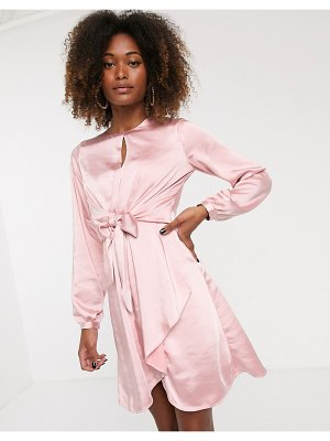Y.a.s satin knot front dress-pink