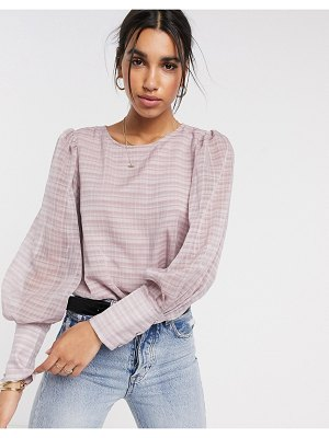 Y.a.s sheer blouse in pink check