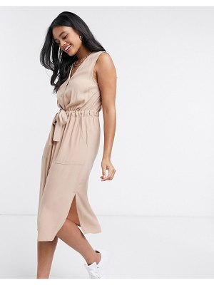 Y.a.s shirt dress with v neck and tie waist in beige-tan