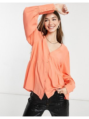 Y.a.s smock blouse with v-neck in coral pink