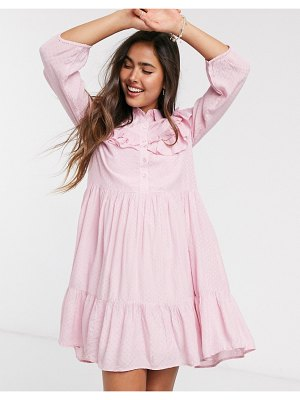 Y.a.s smock dress with ruffle detail in pink