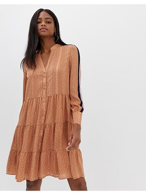 Y.a.s spot tiered dress with side stripe-brown
