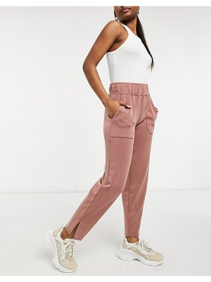 Y.a.s sweatpants with side slit in camel