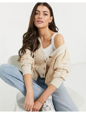 Y.a.s textured knit cardigan in pale pink