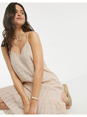 Y.a.s textured slip midi dress with pleated hem in beige