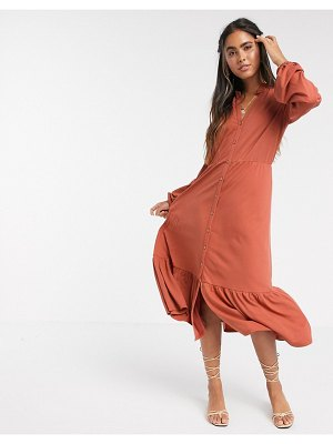 Y.a.s v neck button down midi dress with peplum hem in orange-brown