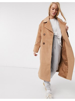 Y.a.s wool longline coat with tortoise shell buttons in camel-tan