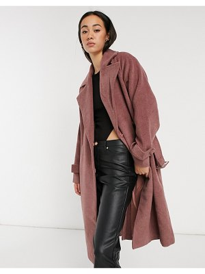 Y.a.s wool tailored coat with waist belt in mauve-pink