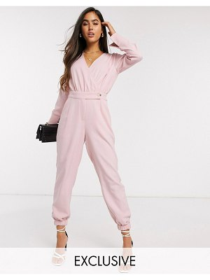 Y.a.s wrap jumpsuit with elasticated hem in pink