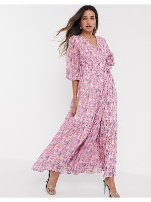 Y.a.s wrap maxi dress with open back in bold floral-pink