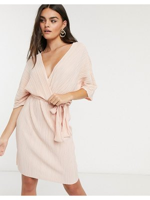 Y.a.s wrap mini dress with kimono sleeve in pale pink plisse