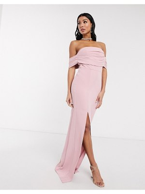 Yaura column maxi dress with pleat off shoulder detail in blush-pink