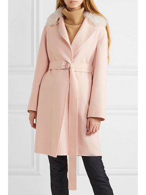 Yves Salomon belted shearling-trimmed wool and cotton-blend coat